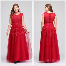 vestidos formais dama de honra Desconto Imagem Real Plus Size Red Lace Longos Vestidos de Noite Tulle Lace Frisado Até O Chão Formal Dama de Honra Vestidos CPS299