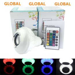 Wholesale Best Speaker Led Lights - Best E27 LED Bulbs Wireless Bluetooth 6W LED Speaker Bulb RGBW Music Playing Lighting With 24 Keys IR Remote Control FREE SHIPPING