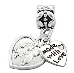 Wholesale Oval Handcuffs - made with love boy kiss girl danceing anchor angel on moon freedom handcuffs lock & key Bead 925 Silver Beads Fit pandora Bracelets
