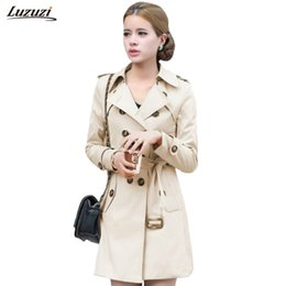 Wholesale Trench Abrigos Mujer - Wholesale- 1PC Trench Coat For Women Double Breasted Slim Fit Long Spring Coat Casaco Feminino Abrigos Mujer Autumn Outerwear Z505