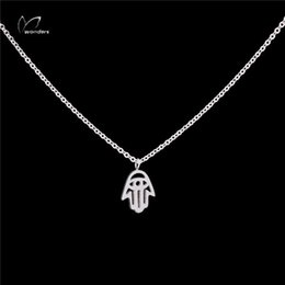 Wholesale Hamsa Eye Necklace - Wholesale 10Pcs lot New Promotion 2017 Hip Hop Jewelry Pendant Evil Eye Silver Necklaces Hamsa Hand Gold Chains Choker Necklaces for Women