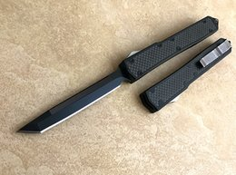 Wholesale Hunting Swords - Free shipping High end automatic knife Carbon fiber aluminum alloy handle D2 blade Tanto sword blade Excellent automatic tactical knife