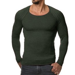 Wholesale Black White Striped Clothing - Wholesale-2017 New Men Knitted Sweater Autumn Winter Fashion Brand Clothing Men's Striped Sweaters Solid Color Slim Fit Men Pullover
