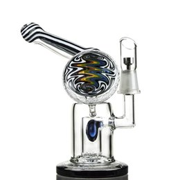 """Wholesale Titanium Nail Vapor - 6.3"""" Small Heady Pipes Pure Blue Color Glass Water Bong With Recycler Vapor Chamber Ball Oil Rigs 14.5mm Titanium Nail HD02"""
