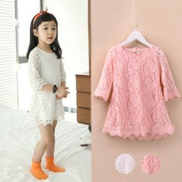 Wholesale Big White Tutu - 2015 Spring Big Children's new Korean high quality Girl Children sleeve lace Princess Dress White Pink 2 Colours C001