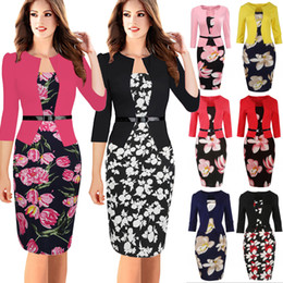 Wholesale Two Piece Fake Dresses - Women Bodycon Office Party Dress 3 4 Sleeve Floral Printed Patchwork Fake Two Piece Belted Pencil Dress