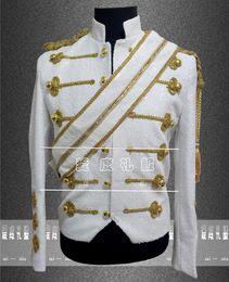 Wholesale Michael Jackson White Jacket - Fall-Michael Jackson Concert Costumes Men Singers DJ DS Stage Sequins Clothing MJ Paillette Formal Dress Jacket XS-3XL