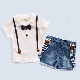 Wholesale Baby Leopard Zebra - New Baby Boys Clothing Sets short Sleeve T-shirt+denim shorts kids 2pcs clothes sets Children Boy Formal Suit Bow Tie fashion outfits