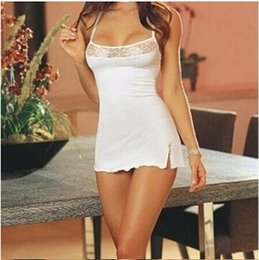 Wholesale Lingerie Suspenders Europe - Sexy low-cut lace suspenders sexy lingerie white pajamas appeal nightgown B153 Europe