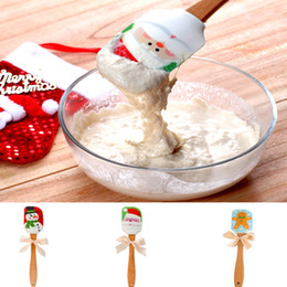 Wholesale Butter Scraper - Santa Claus Kitchen Silicone Cream Butter Cake Spatula Mixing Batter Scraper Brush Butter Cake Brushes Baking Tool Kitchenware HH7-270