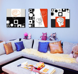 Wholesale Picture Blocks - Free shipping 3 Pieces no frame Art Picture on Canvas Prints Abstract art oil painting line color block Cartoon flower Chrysanthemum grass