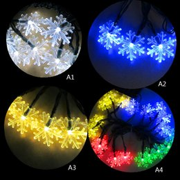Wholesale Led Snowflake Lights Solar - Wholesale- 4.8M 20LED Snowflake Bling String Light Christmas LED Fairy Holiday Light Outdoor Wedding Party Decor Solar Lamp Waterproof P22
