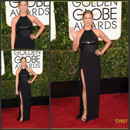 Wholesale Jennifer Aniston Black Dress - 2015 Golden Globe Awards Jennifer Aniston Evening Dresses Sexy Black Halter Evening Gown Sequined Bodice High-Slitted Red Carpet Dress
