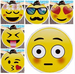 Wholesale Microfiber Blanket Soft - 14 design Emoji Round Large Beach Towel Microfiber with Tassel 150cm Diameter Soft Beach Blanket Towel Shawl Yoga Mat