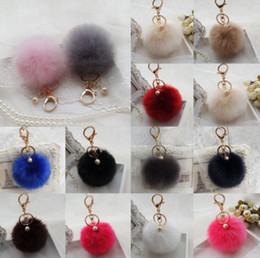 Wholesale Ring Bow Charms - Rabbit Fur Pom-pom Key Chain Bag Charm Fluffy Puff Ball Bow Key Ring Car Pendant Key Chain For Keys Bag Pendant KKA3183