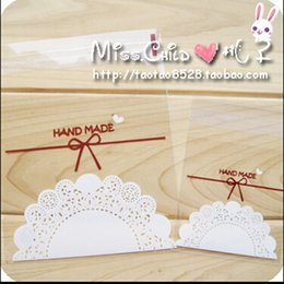 Wholesale Lace Paper Bags - Wholesale- 100PCS lot Transparent Lace Bow OPP Self-adhesive Seal Candy and Cookie Baking Bag Event and Party DIY Gift Packaging Bag BZ022