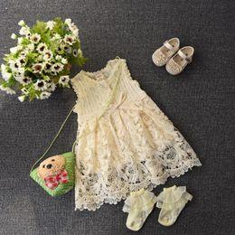 Wholesale Korean Toddler Girl Dresses - NEW ARRIVAL baby girl kids infant toddler Korean sleeveless vest dress lace crochet embroidered knit princess jumper beige wave ruffles 5