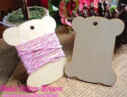 Wholesale Wood Spools Wholesale - 50pcs Blank Design 65x70mm ZAKKA Wood blank thread ribbon twine SPOOL bobbin reel organizer, Wooden hang tag,wood gift tag