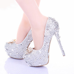 Wholesale Crystal Bridal Shoes Bow - Cinderella High Heels Crystal Wedding Shoes 14cm Thin Heel Rhinestone Bridal Shoes Round Toe Formal Occasion Prom Shoes