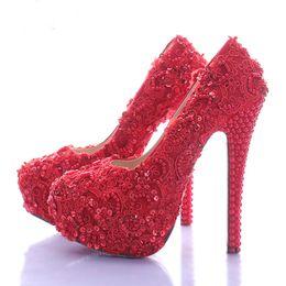 Wholesale Vogue Platform Heels - Wedding Shoes for Bride Elegant Red Lace Bridal Dress Shoes Glitter Platform High Heel Shoes Beautiful Vogue Women Modeling Pump
