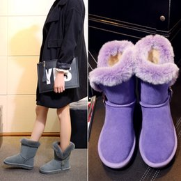 Wholesale Chunky Heel Platform Booties - Winter new Genuine Leather snow boots with fur Female Rabbit hair flat SuedeKeep warm Cotton short ankle booties purple chunky platform boot