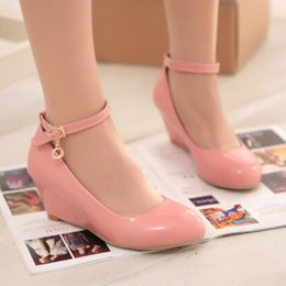 Wholesale Small Yards 31 Size - Wholesale-New Arrival 31-43 Small Big size autumn sweet wedges single shoes yards female hasp women's shoes plus size 6 colors patent