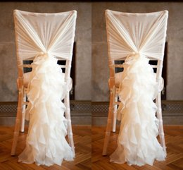 Wholesale Wholesale Wedding Accessories Europe - 2018 Romantic Ruffled Wedding Chair Sashes Chiffon Flowy Ruffle Chiavari Chair Covers Hood Wedding Party Event Accessories