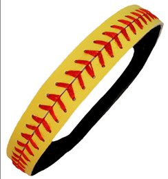 Wholesale Yellow Leather Softball Headbands - High quality Real leather yellow fastpitch softball seam headbands total 20 colors