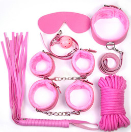 Wholesale Sexy Sex Collars For Women - Adult Sexy toys alternative toys package 8 sets sex toys for women Bondage toys foot whip hand-cuffs blindfold collar cotton rope ball mouth