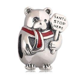 Wholesale Berry Bracelet - Authentic 925 Silver Beads Sterling Silver Christmas Polar Bear Charm, Berry Red Enamel Fits European Style Jewelry Bracelets