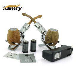Wholesale Pipe Mods - Original Kamry K1000 E Pipe Wood Mod Ecigarette Kit With Tank Atomizer Vaporizers 2pcs 18350 battery EPipe Mechanical Mods Zipper Case Kits