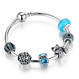 Wholesale Lucky Red Bangle - Fashion Charm Bracelet Bangles with Blue Murano Glass Beads & Brilliant Cubic Zirconia Silver Charms & Lucky Bear Charms BL085