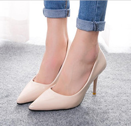Wholesale Medium Heel Shoes Multicolor - 2016 fashion women's patent leather high heel shoes pointed toe multicolor shoes wedding shoes