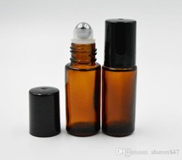 Wholesale Brown Amber Glass Bottles - Amber Brown 5ml 1 6oz MINI ROLL ON fragrance PERFUME bottle Thick GLASS BOTTLE ESSENTIAL OIL Aromatherapy bottle Steel Metal Roller ball