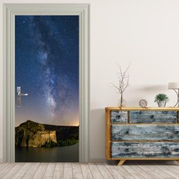 Wholesale Mountain Posters - Free shipping DIY mountain in star night Door Sticker for Bedroom Living Room Poster PVC Waterproof Decal door wrap 77*200cm