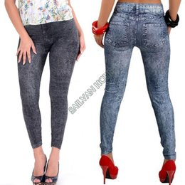 Wholesale Look Punk Casual - Fashion Sexy Skinny Jeans Look Stretchy Long Pants Solid Color mid Low Waist Punk Style Casual Leggings for Womens #7 SV004648