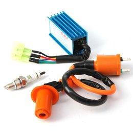 Wholesale Gy6 Engine Cdi - Racing Ignition Coil + for Spark Plug + CDI Box For GY6 50cc-150cc 4-Stroke Engines order<$18no tracking