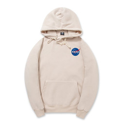 Wholesale High Neck Hooded Sweatshirts - NASA Hoodie Streetwear Hip Hop Hooded Hoody Autumn Winter Fleece High Quality Outdoor Mens Hoodies Sweatshirts