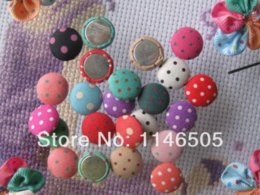 Wholesale Covered Buttons Bulk Wholesale - 120pcs Bulk 15mm Polka-dot Printing Fabric Covered Round Button FlatBack craft As Jewelry Accessories and Scrapbook clothing set M66654