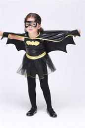 Wholesale Disguise Halloween - Girls batman superhero Halloween cosplay costumes Batgirl fantasia vestido fancy halloween dress Kids disguise carnival party Outfit