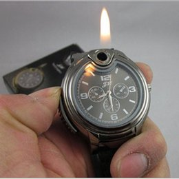 Wholesale Novelty Refillable Lighters - DHL Free SHIP Luxury Military Lighter Watch Novelty For Man Women Quartz Sports Refillable Butane Gas Cigarette Cigar Watches with diamond