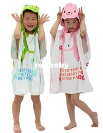 Wholesale Terry Bathrobes Free Shipping - Free Shipping New Design Hooded Baby Towel Infant Bath Robe with Cartoon Terry Bathrobe Hooded kid's Cotton Beach Towels Gift