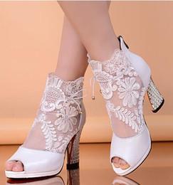 Wholesale Sandals Rain - 2015 Hot Sale Rain Boots Botas New Short Boots Women Sandals Wedding Shoes Party British Genuine Leather Lace Breathable Fish Head 9cm Heel