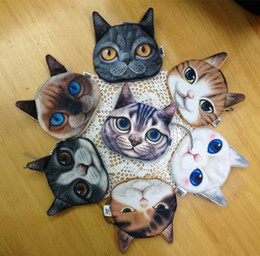 Wholesale Oval Clutches - 24 pcs 3D Print Cat face Coin Pouch Animal Small Clutch Purse Women Hand bag Zipper Earphone Holder Cosmetic Makeup Bag Zero Wallets