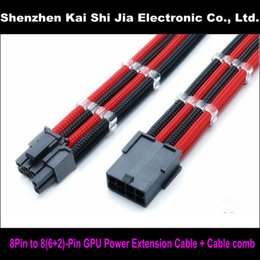 """Wholesale Pci Red - Wholesale- 12"""" Single Sleeved Black & Red PCI-E GPU 8 Pin to 6+2 Pin PCI-E Power Extension Cable + 2PCS Cable Comb"""
