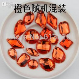 Wholesale Orange Sew Stones - Wholesale-mixed size 100PCS Orange Color Superior Taiwan Acrylic Flat Back Stones mix Shape Acrylic Rhinestone Sew On 2 Holes gems DIY