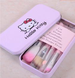 Wholesale Hello Set - 2015 Hello Kitty Make Up Cosmetic Brush Kit Makeup Brushes Pink Iron Case Toiletry Beauty Appliances 7pcs set Free shipping