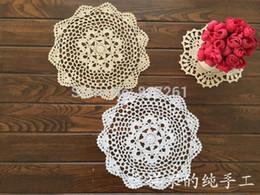 Wholesale crochet napkins - 2015 new fashion 30 pic lot 20 cm round table pad cotton crochet doilies potholders cup mat napkin cup coaster tablemat wedding