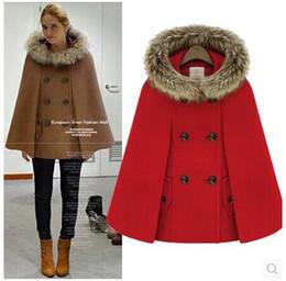 Wholesale Double Breasted Wool Cape Coat - 2015 women winter Blends cape manteau femme fashion bat sleeve hooded female coat sheinside wool cloak woolen coat