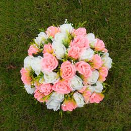 Wholesale White Flower Bouquet Holder - Silk Rose Artificial Flower Arrangement Table Centerpiece Wedding Bouquet Crafts Roman Pillars Candle Holders Flowers